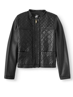 Beverly Hills Polo Club Girls' Quilted Faux Leather Jacket