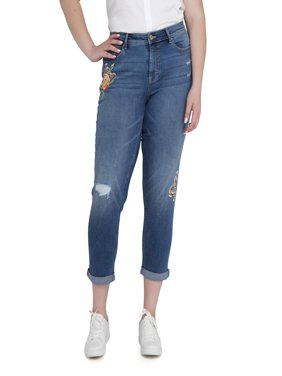 Women's Plus Slim Boyfriend Jean with Embroidery