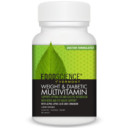 FoodScience of Vermont - Weight & Diabetic Multivitamin Dietary Supplement Caplets, 90 CT