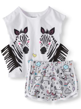 Fringe T-Shirt & Print Dolphin Shorts, 2pc Outfit Set (Toddler Girls)