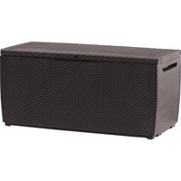 Keter Capri Rattan Resin 80-Gal Outdoor Storage Plastic Deck Box, Espresso Brown