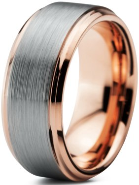 Charming Jewelers Tungsten Wedding Band Ring 8mm for Men Women Comfort Fit 18K Rose Gold Plated Plated Beveled Edge Brushed Polished Lifetime Guarantee