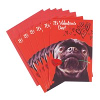 Hallmark Pack of Funny Valentine's Day Cards, Pug and a Kiss (6 cards with Envelopes)