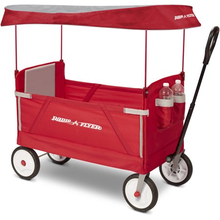 260 Wagon - Radio Flyer, 3-in-1 EZ Fold Wagon with Canopy, Seat Belts, Red
