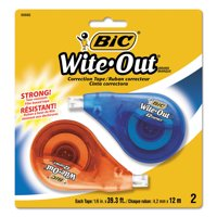 BIC Wite-Out Brand EZ Correct Correction Tape, White, 2 Count