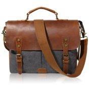 124a054339 Lifewit Vintage Leather Messenger Bag Canvas Shoulder Military Travel Men  14