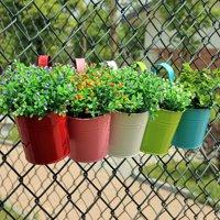 Heepo Metal Iron Flower Pot Hanging Pastoral Balcony Garden Plant Planter Home Decor