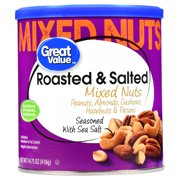 (2 Pack) Great Value Roasted & Salted Mixed Nuts, 14.75 oz