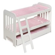 """Badger Basket Trundle Doll Bunk Bed with Ladder - White/Pink - Fits American Girl, My Life As & Most 18"""" Dolls"""