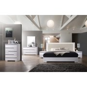Athen Modern California King White Lacquer Bed Dresser Mirror Nightstand 4pcs Set Bedroom Furniture