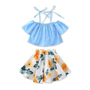 3ca52a9d8cdd39 Fashion Infant Kid Baby Girls Off Shoulder Floral Tops Skirt Dress Outfit  Summer