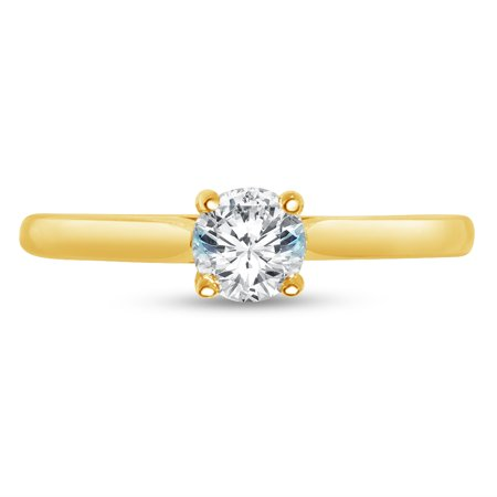 Gold Oval Cut Solitaire - Solid 14k Yellow Gold Round Cut Petite Solitaire Engagement Ring CZ Cubic Zirconia (1/2 cttw., .50ct. Center) , Size 7
