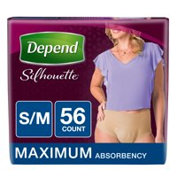 Depend Silhouette Incontinence Underwear for Women, Maximum Absorbency, S/M, 56 Ct