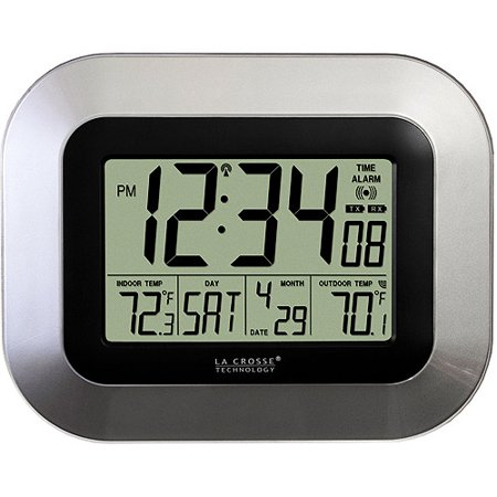 La Crosse Technology Silver Digital Atomic Clock with Temperature