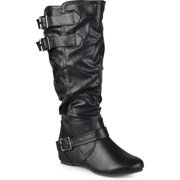 a8335664830 Women s Extra Wide Calf Buckle Slouch Low-wedge Boots