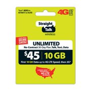 Straight Talk $45 Unlimited 30 Day Plan (with 10GB of data at high speeds, then 2G*) (Email Delivery) - Extra Data Promo Available^