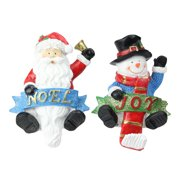 """6a2a2fb612f1b Set of 2 Santa and Snowman Glittered Christmas Stocking Holders 6.25"""""""