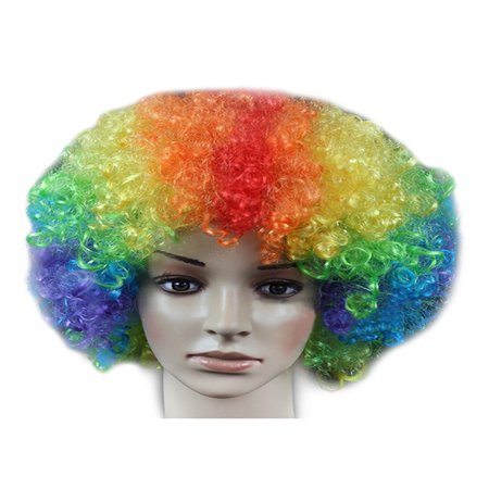 DYMADE 18 Colours Curly Afro Fancy Dress Funky Wig Disco Clown Mens/Ladies - Pink Hippie Costume