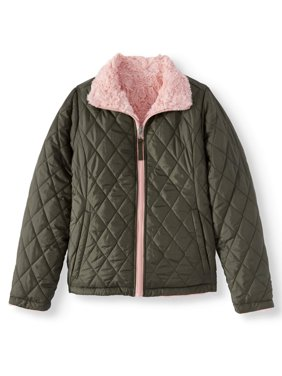 Product Image BHIP Reversible Quilted Zip Front 2-in-1 Jacket with Fur Lining (Big Girls Coats \u0026 Jackets - Walmart.com
