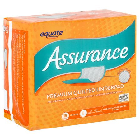 Equate Assurance Maximum Absorbency Unisex Premium Quilted Underpad, L, 18 count ()