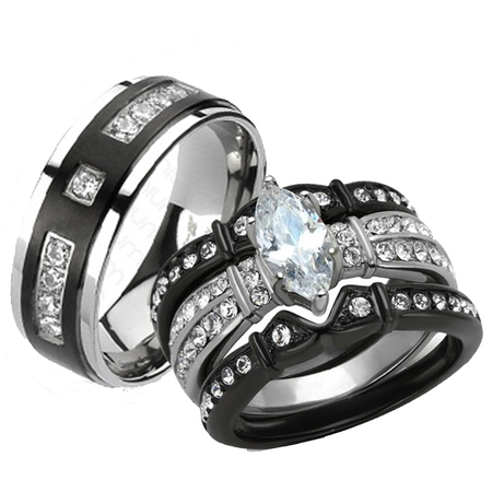 Her & His 4pc Black Stainless Steel & Titanium Wedding Engagement Ring Band Set Size Women