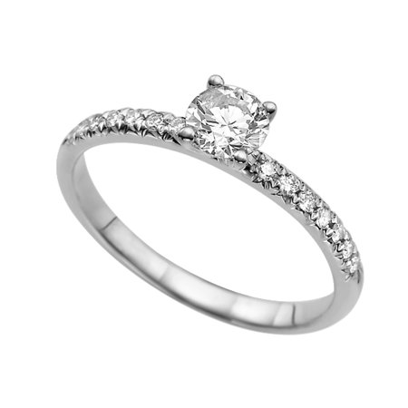 Diamond Micro Pave Ring (Micro Pave White Sapphire Ring 0.8 ct with Diamonds White Gold 14K Twist Ring )