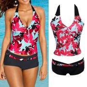 4406a3d2e22 Fashion Women Floral Bikini Set Halter Swimsuit Push Up Swimwear Bathing  Suit Summer