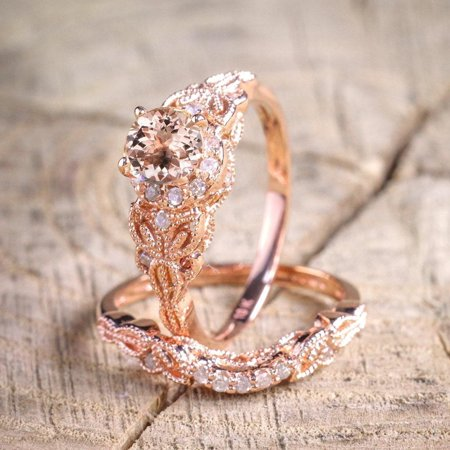 Cut Bridal Ring Set (Limited Time Sale 1.50 Carat Round Cut Morganite and Diamond Halo Bridal Ring Set in Rose Gold: Bestselling Design)