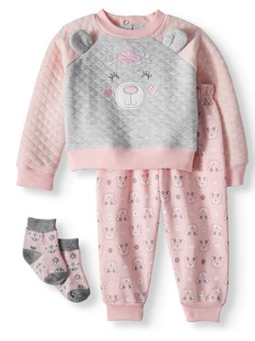 Baby Girls' Long Sleeve Quilted Shirt, Joggers and Socks, 3-Piece Outfit Set