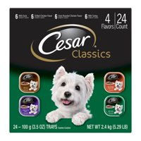 CESAR CANINE CUISINE Wet Dog Food Poultry Variety Pack, (24) 3.5 oz. Trays