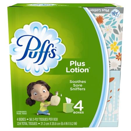 Thumb Tissue - Puffs Plus Lotion Facial Tissues, 4 Cubes, 56 Tissues per Box