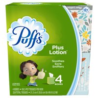 Puffs Plus Lotion Facial Tissues, 4 Cubes, 56 Tissues per Box