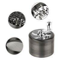 """GPCT [Stainless Steel] Herb Spice Grinder W/ Hand Cranked Mill. 2.5"""" Tall, 4 Pieces, 3 Chambers, 6 Blades/Sharp Teeth, Pollen Catcher/Scraper. Durable Zinc Alloy Magnetic Top - Dark Grey"""