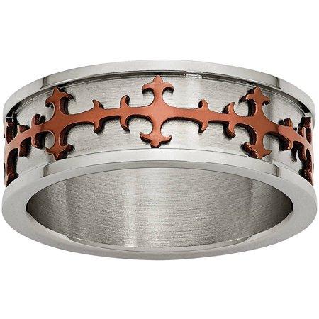 Primal Steel Stainless Steel Brown IP-plated Crosses Ring ()