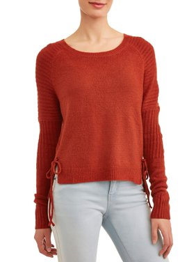 Women's Crewneck Sweater with Side-Tie Detail