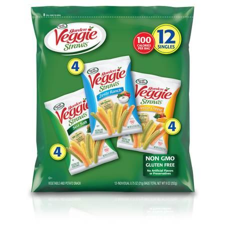 Sensible Portions Garden Veggie Straws Sea Salt, Zesty Ranch, & Cheddar Cheese Variety Vegetable Straw Pack, 0.75 Oz., 12 Count