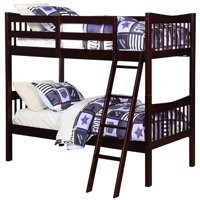 Angel Line Freemont Twin Over Twin Convertible Wood Bunk Bed, Espresso