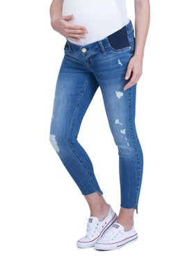 Maternity Side Panel Ankle Skinny Jean with High-Low Raw Hem