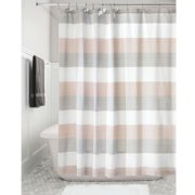 IDesign Wide Multi Stripe Fabric Shower Curtain Blush And Gray