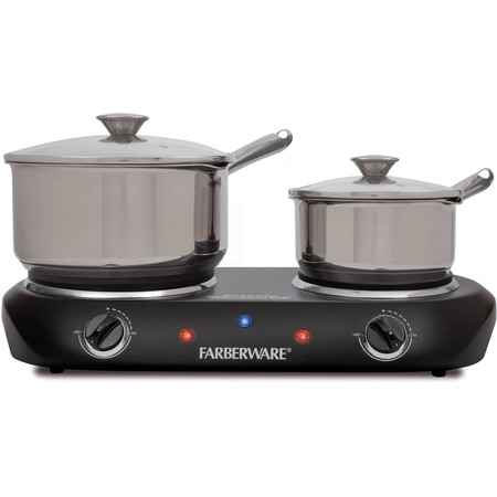 Portable Cooking Burner (Farberware Royalty 1500 W Double Burner Black Electric Cooktop)