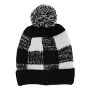 bd1bf298 Black and White Checkered Knit Beanie