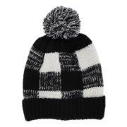 bbf7da07b4e5e Black and White Checkered Knit Beanie