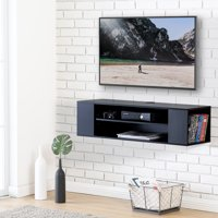 FITUEYES Wall Mounted Console Entertainment Center Stand Media Storage Shelf Black DS210002WB