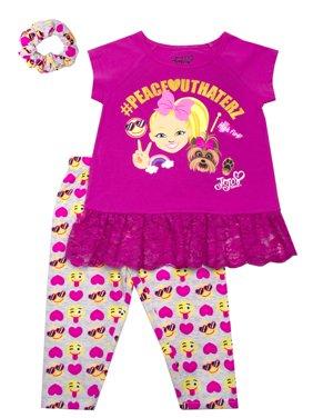 JoJo Emoji Ruffle Tee and Capri Legging with Scrunchie, 2-Piece Outfit Set with Scrunchie (Little Girls)