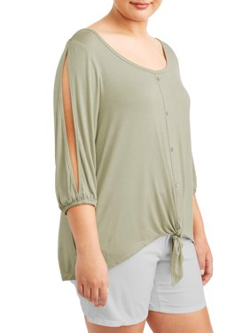 Women's Plus Size 3/4 Open Sleeve Button Front Top