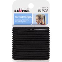 (2 Pack) Scunci No Damage Hair Ties, Black, 15 count