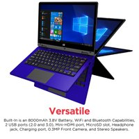 "Ematic 11.6"" Laptop, Touchscreen, 2-in-1, Windows 10, Intel Atom Quad-Core Processor, 2GB RAM, 32GB Flash Storage (EWT117)"