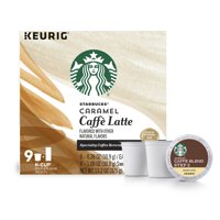 Starbucks Caramel Caffe Latte Medium Roast Single Cup Coffee for Keurig Brewers, 1 Box of 9 (9 Total K-Cup Pods)
