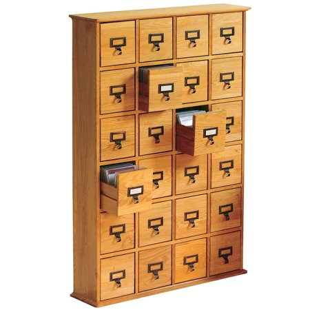 Library Catalog Media Storage Cabinet 24 Drawer Stores 288 Cds