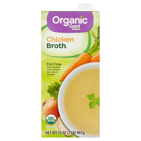 (6 Pack) Great Value Organic Chicken Broth, 32 oz (Best Organic Chicken Brands)